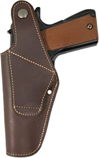 Barsony New Brown Leather OWB Belt Loop Holster for Full Size 9mm 40 45