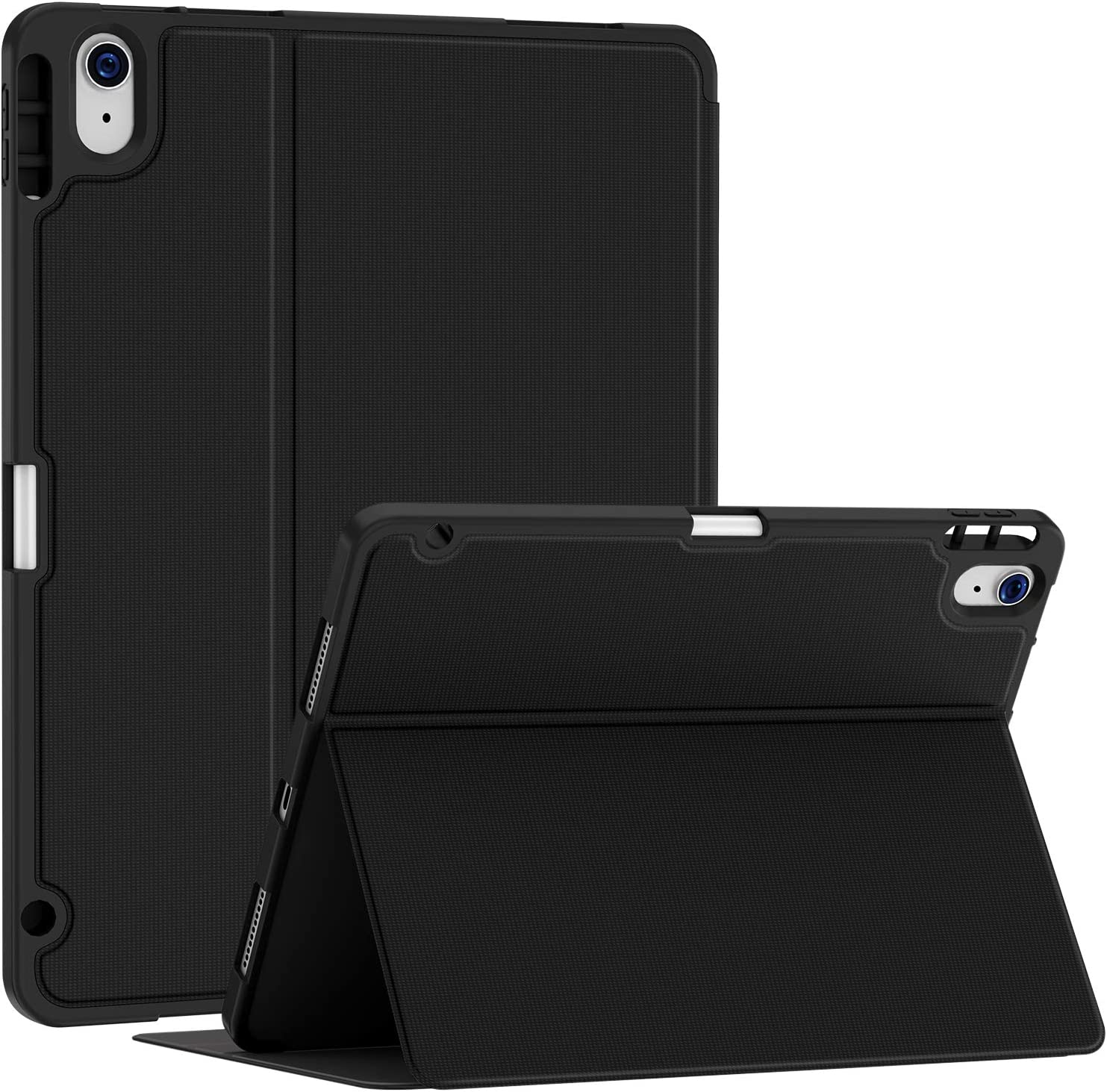 Soke Case for iPad Air 4th Generation 2020, iPad 10.9'' Case with Pencil Holder, Premium Shockproof Stand Folio Case, Multi- Viewing Angles, No Auto Wake/Sleep Function, Black