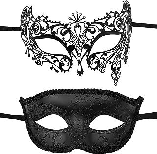2 Pack Couple's Venetian Masks Set Masquerade Ball Mask Carnival Mardi Gras Prom Mask