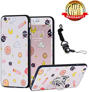 iPhone 7 Case, iPhone 8 Case Screen Protector Tempered Glass Film with Holder Ring Kickstand, 360 Full Body Nice Thin Hard Cartoon Kitty Girls Cover Lanyard Shell Skin for iPhone 7/8 4.7