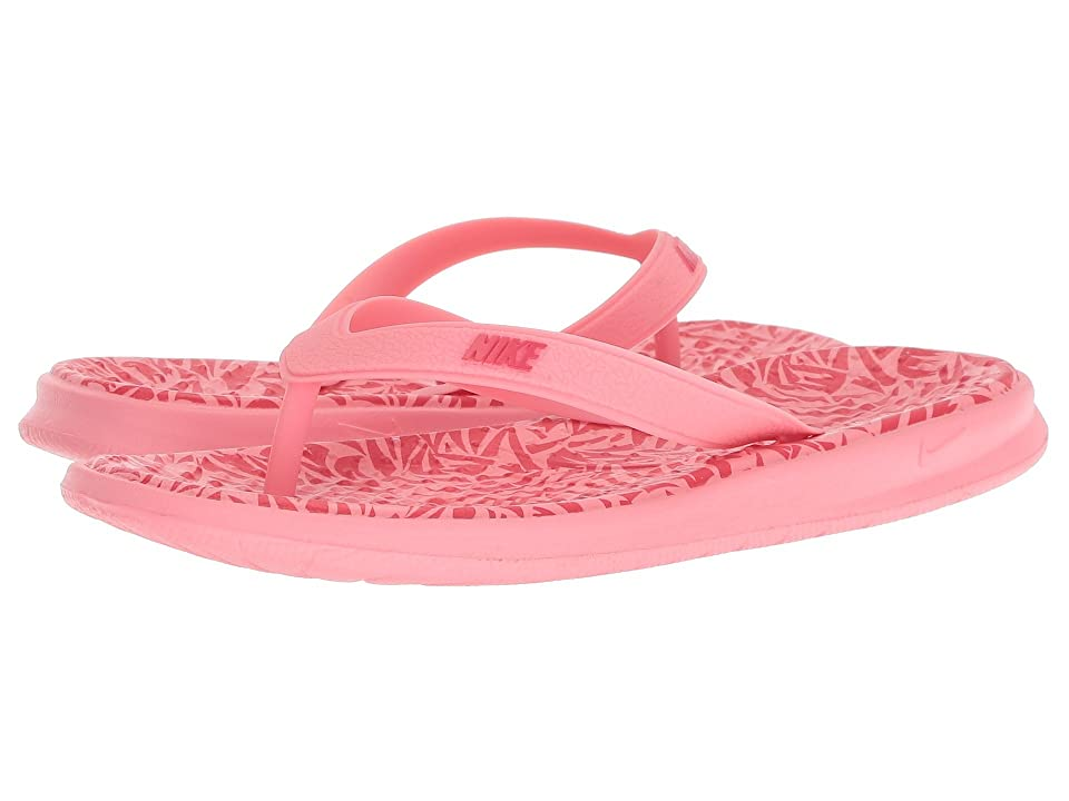 Nike Kids Solay Print Thong (Little Kid/Big Kid) (Coral Chalk/Tropical Pink) Girls Shoes