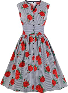 Killreal Women's 1950s Vintage Floral Printed V Neck Sleeveless Swing Dress