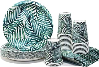 Green Tropical Party Pack | Plates Napkins Cups Serves 25 | Perfect for Birthdays, Bridal Showers, Weddings, Tropical Luau Parties