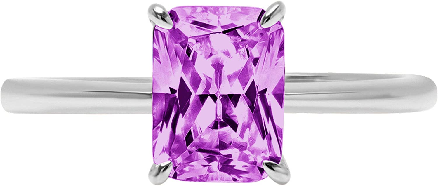 0.95 ct Brilliant Radiant Cut High order CZ Flawless Rapid rise Simulated Pu Solitaire