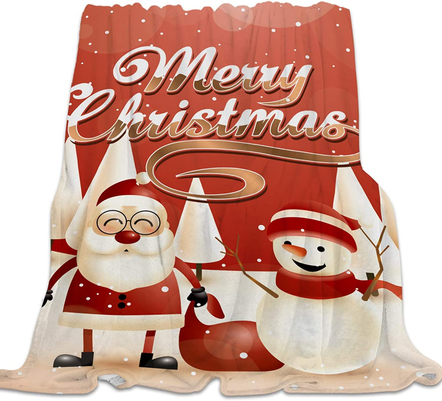 YEHO Art Gallery Flannel Fleece Bed Blanket Super Soft Cozy ThrowBlankets for Kids Girls Boys,Lightweight Blankets for Bed Sofa Couch Chair Day Nap,Santa Claus Snowman Merry Christmas Tree,49x59inch