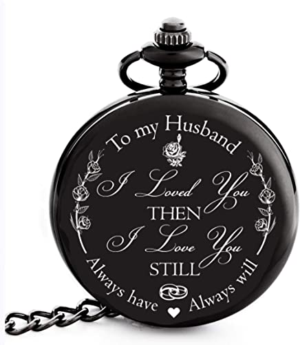 Anniversary Gifts for Him I Anniversary Gift for Husband - Engraved 'To my Husband' Pocket Watch | I Love You Gift fo...