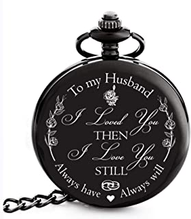Anniversary Gifts for Men   Engraved 'To my Husband' Pocket Watch   Perfect Gift for Husband from Wife for Valentines / Birthday / Happy Wedding Anniversary!