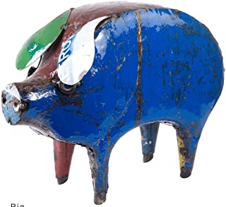 Upcycled Emporium Whimsical Banyard Pig Freestanding Statue for Home, Outdoor Patio, and Garden Décor, Handcrafted from Recycled Scrap Metals