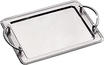 Elegance Silver 73029 Rectangular Stainless Steel Tray with Handles, 14