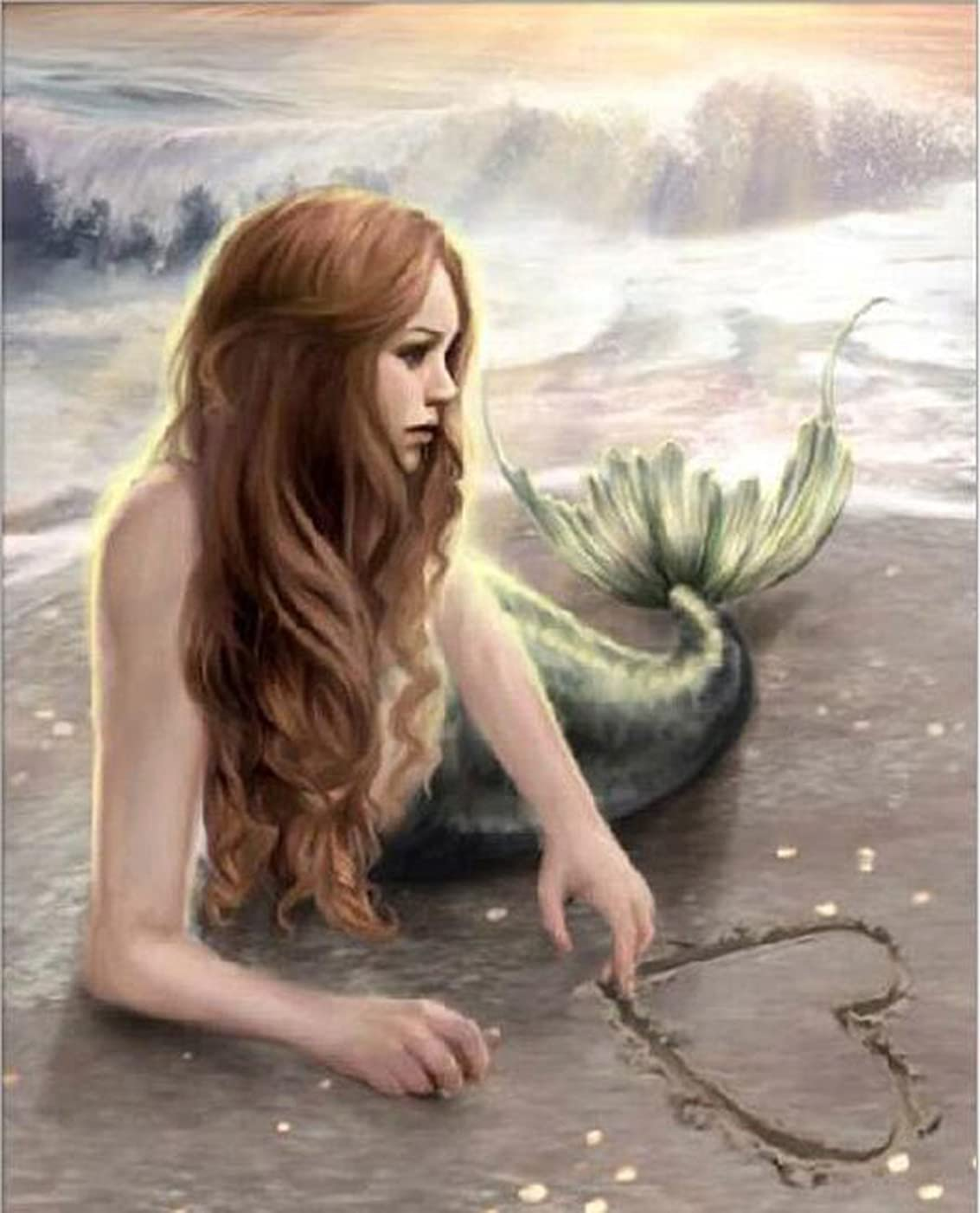 DIY 5D Diamond Painting by Number Kit, Full Drill Diamond Painting Love Mermaid Embroidery Cross Stitch Arts Craft for Canvas Wall Decor,Diamond Painting Kits for Adults 12X16 inc