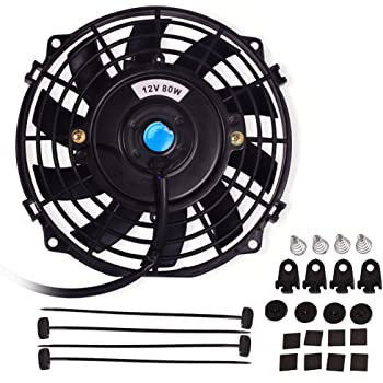 "7"" Electric Radiator Cooling Fan Assembly Kit 1730CFM Universal Slim Engine Fan Mounting Kit Reversible 12V 80W"