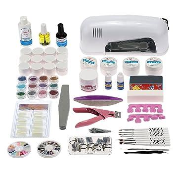 Anself - Set 61Pcs completo de uñas manicura de juego kit de 9W lámpara secador de uv gel esmaltes pegatinas acrílico consejos removedor pinceles de clavos: Amazon.es: Belleza