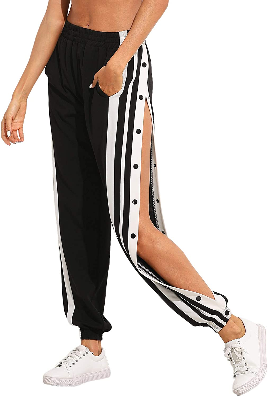 SOLY HUX Women's Sporty High Split Side Striped Joggers Snap Button Track Pants