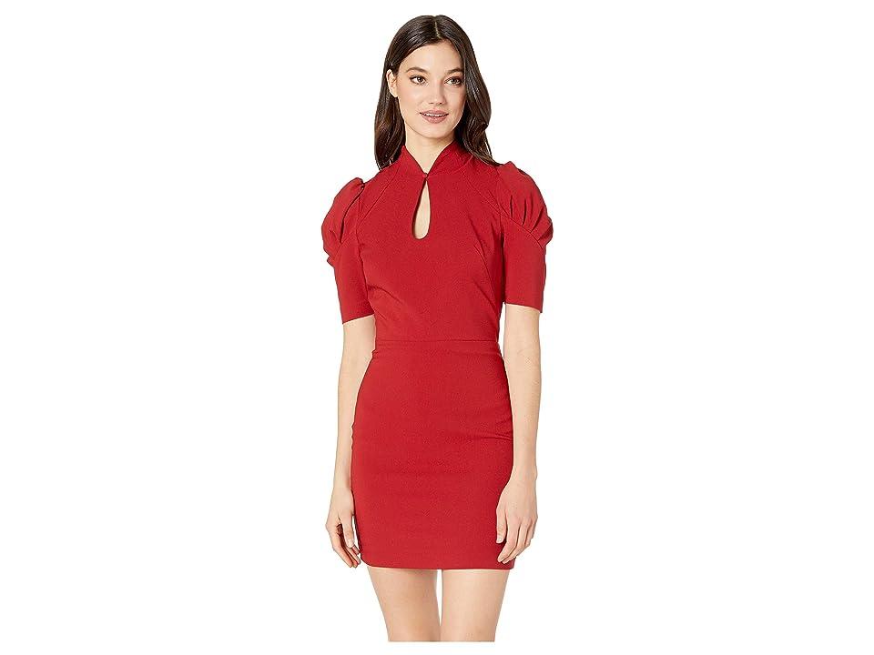 Bebe Puff Sleeve Keyhole Dress (Red Dahlia) Women