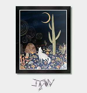 Moon Song - by Artist Jason Smith - Southwestern Decor, Art, Artwork, Celestial, Moon Print, Moon Art, Wolf Art, Wolf Print, Moon Print, Coyote, Arizona Desert, Texas, Sonoran Desert, Southwest Art