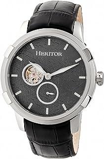 HERITOR - Automático Callisto Semi-Esqueleto Reloj De Banda De Cuero - Plata/Gris