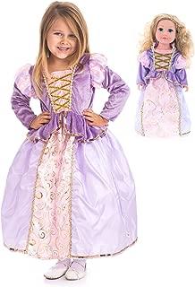 Little Adventures Classic Rapunzel Princess Dress Up Costume & Matching Doll Dress (Large Plus (Age 5-7))