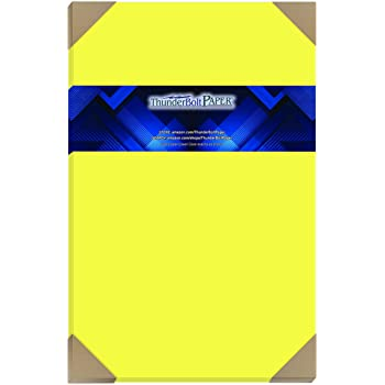 Amazon Com 100 Bright Neon Yellow Fluorescent Color Cardstock 11 X 17 11x17 Inches Tabloid Ledger Booklet Size 65 Lb Pound Light Card Weight Cover Paper Quality Printable Smooth Surface Sheets Office Products