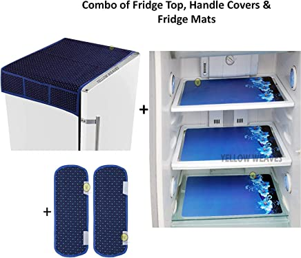 Yellow Weaves™ Exclusive Polka Dot Decorative 1 Fridge Top Cover and 2 Handle Covers + 3 Fridge mats - Blue Colour