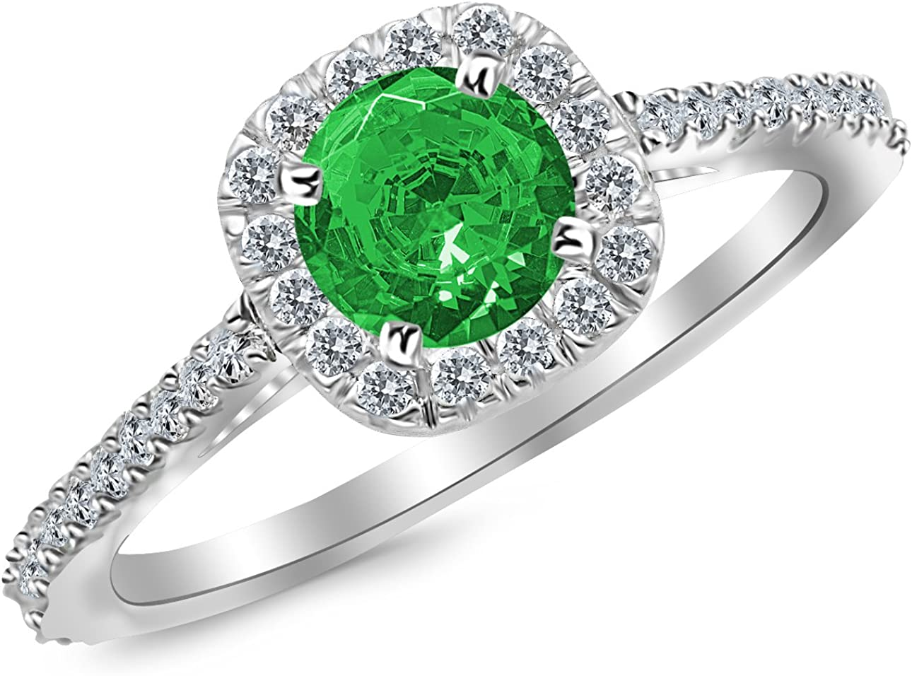 0.85 Carat 14K White Gold Gorgeous Classic Cushion Halo Style Diamond Engagement Ring with a 0.5 Carat Natural Emerald Center (Heirloom Quality)