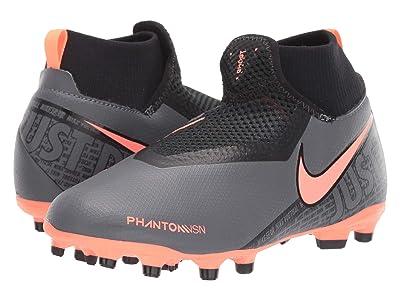 Nike Kids JR Phantom Vision Academy DF FG/MG Soccer (Little Kid/Big Kid) (Dark Grey/Bright Mango/Black) Kids Shoes