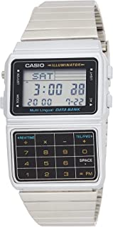 Casio Databank Unisex Digital Quartz Watch with LCD Dial and Grey Steel Strap, DBC-611-1DF