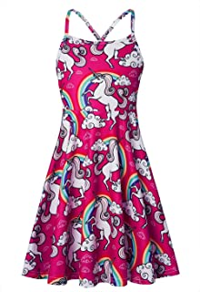 Loveternal Girls Summer Spaghetti Strap Casual Above Knee Cami Dress Colorful Retro Twirl Swing Dresses Size 4-13
