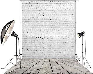 HUAYI D 2504 Fotohintergrund mit weißem Ziegelstein und grauem Holzboden, Vinyl Hintergrund für Bilder (1,5 x 3 m) (BaumwollePolyester))