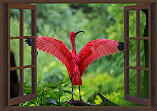 "Fabulous Décor - Flamingo Wings 3D Window View Wall Art Premium Vinyl Decal Sticker 17""H X 24""W"