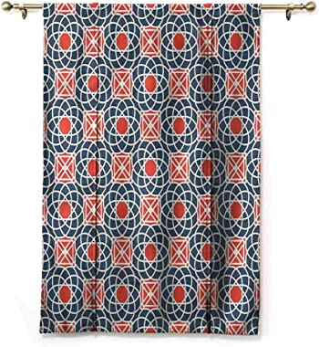 "HouseLookHome Drapes and Curtains Geometric Balloon Valance Drape Wildflower Oval Line for Doors Rod Pocket Panel, 36"" W x 72"" L"