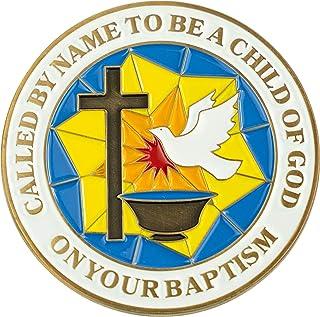 Baptism Coin, Baptismal Gift for Girls and Boys, Commemorative Keepsake Token, Catholic and Christian Religious Antique Go...