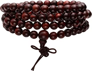 MILAKOO 6mm 108 Wood Beads Bracelet Mala Prayer Necklace for Buddha Meditation Tibetan