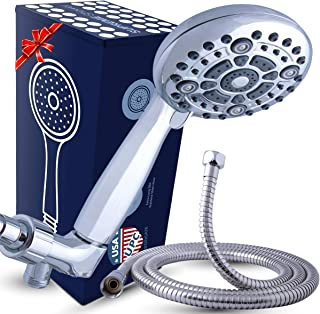 High Pressure XL Handheld Shower Head + Long Hose and Luxury 6 Spray Settings. Easy to..