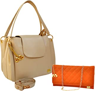I DEFINE YOU Victoria Women's Cream Leatherette Bag with Tan Quilting Sling Combo