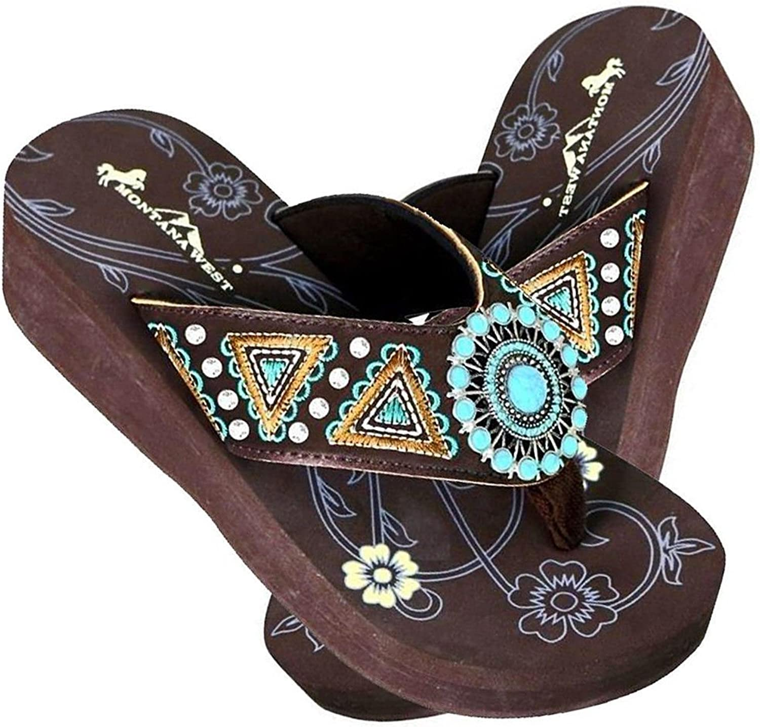 Montana West Embroidered, TQ Center Aztec Wedge Flip Flops - Coffee