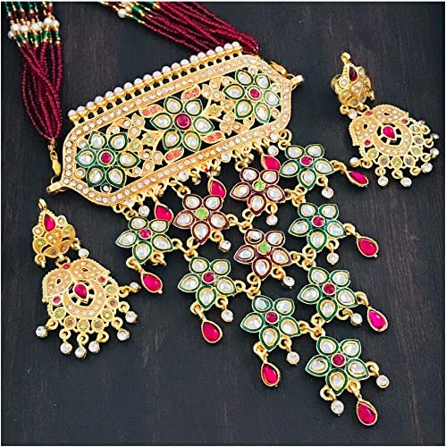 The Opal Factory Latest Wedding Jewellery Exclsuive Gold Imitation Rajasthani Necklace Set Including Choker With Heavy Look With Earrings In Gold Plated Kundan Multicolor Meenakari Cubic Zircon American Diamond AD CZ For Women Girls