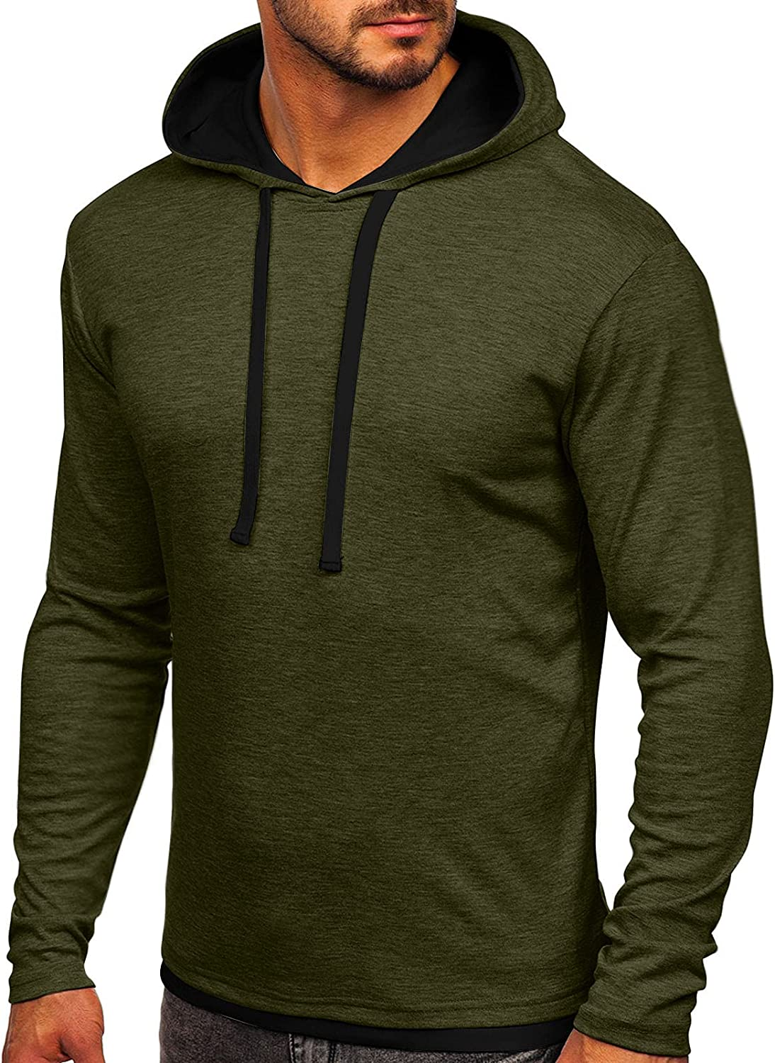 XXBR Hoodies for Mens, Fall Color Block Casual Long Sleeve Pullover Hipster Drawstring Slim Fit Hooded Sweatshirts