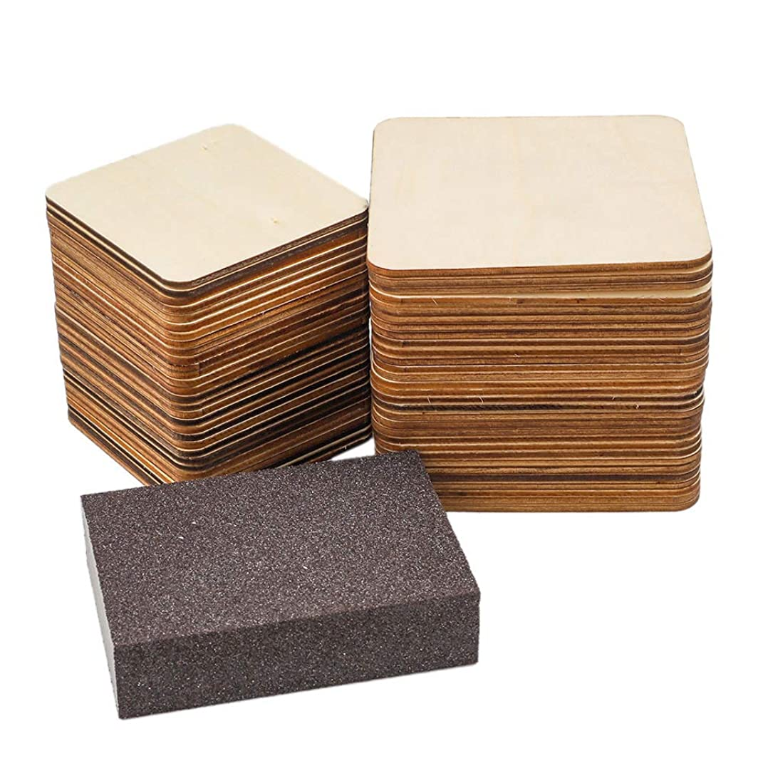 CEWOR 60pcs 4 inch and 3 inch Square Wood Pieces Blank with Sanding Sponge for Home Decoration, DIY Crafts, Photo Props and Painting, 2 Sizes, 30pcs per Size