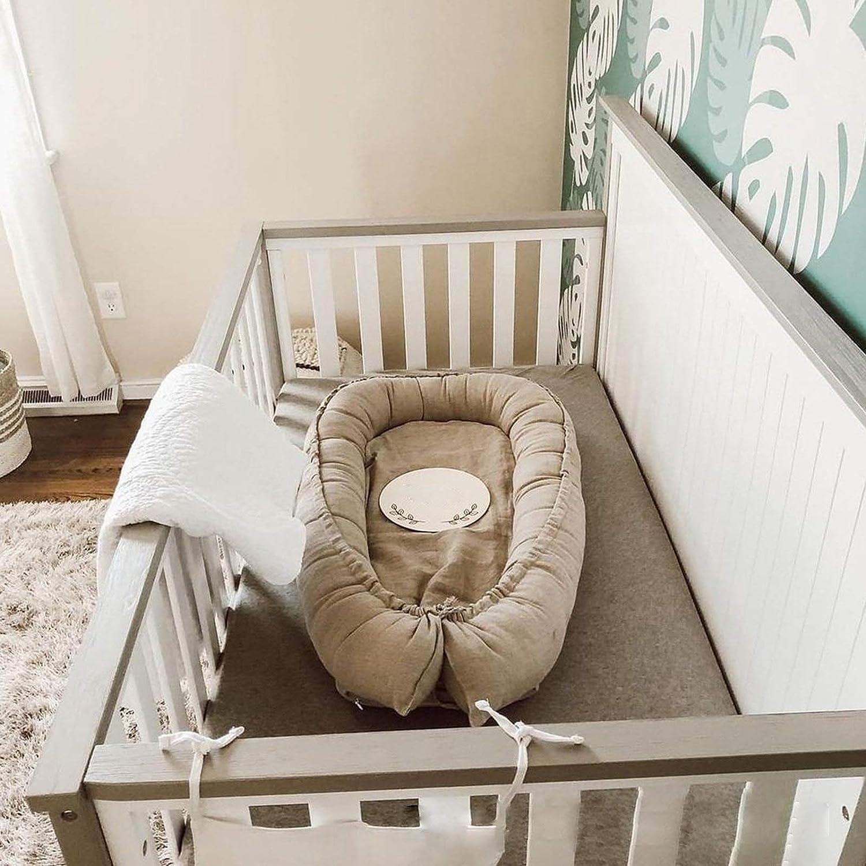 WUQIANG Nid Bébé Portable Doux bébé 100%-Recliner Haute Qualité Grand Coton Lit (0-24 Mois) -Breathable Portable Crib Hypoallergénique (Color : Gray1) Gray