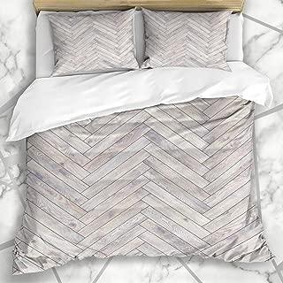 Ahawoso Bedding Duvet Cover Sets King 90x104 Wood Floor Panel Parquet Oak Texture Beechwood Arrow Flooring Herringbone White Interiors Textures Soft Microfiber Decorative Bedroom with 2 Pillow Shams