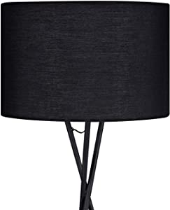 Floor lamp – simple and stylish studio lamp with E27 socket, modern tripod floor lamp in black, diameter 45 cm, lampshade and max. 60 W 157 cm Metal Floor Lamp for Living Room, Bedroom