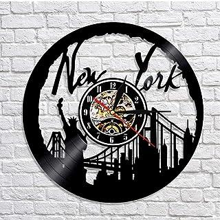 GYJCD Reloj De Pared De Nueva York NY Brooklyn Bridge Wall Art Vintage Vinyl Record Reloj De Pared EE.UU. Paisaje Urbano R...