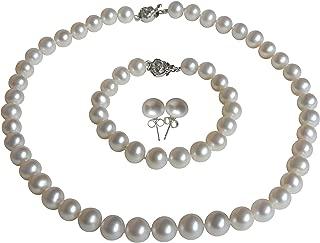 II Round Pearl II White Pearl Necklace Bracelet & Earrings Set for Women 3 Piece Set Strand Stud Earring Pearl Jewelry Christmas Genuine Cultured Freshwater