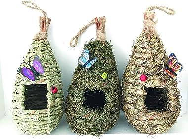 "AROMA TREES Set of 3 Bird Hut 9"" x 4"", Hand Woven Small Hanging Birdhouses Hummingbird Nesting Chickadee House, Wren Nest Fib"