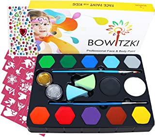 Bowitzki 12 Color Face Paint Kit for Kids Adults with 100+ Rhinestones 40 Stencils 2 Glitter 2 Brushes Face Painting Set for Sensitive Skin Water Based FDA Compliant Professional Body Painting