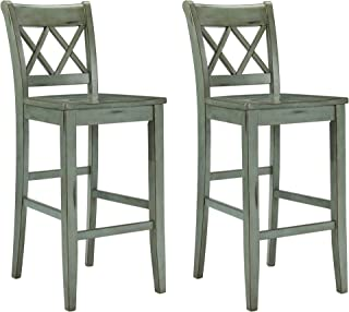 Signature Design by Ashley Mestler Bar Height Bar Stool, Blue/Green
