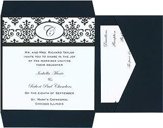 Wilton Black and White Scroll Wedding Invitation Kit, 25pc, 6'' W x 6'' H