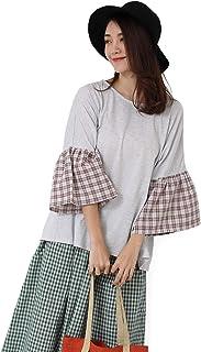 Hongyuamy トップス レディース カットソー tシャツ チェック ラウンドネック 半袖 七分袖 春 夏 ゆったり