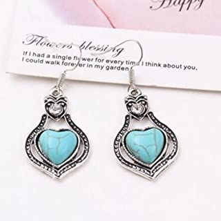 A&C Bohemia Heart Shaped Earrings for Women, Fashion Dangle for Girl. (Blue)