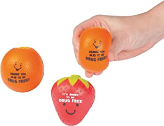 Fun Express Red Ribbon Drug Free Character Stress Balls Toys (Set of 12) Drug Awareness Supplies